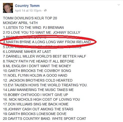 tomm dowling, country charts kclr